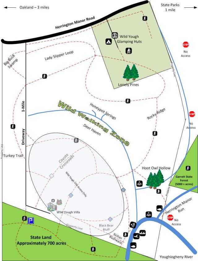 Property and Trail Map for Wild Yough Glamping Huts and Wild Yough Villa
